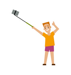 young man making selfie with phone and monopod vector image