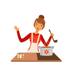 Young woman with ladle cooking soup housewife vector