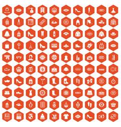 100 woman shopping icons hexagon orange vector