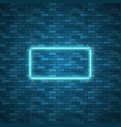 blue abstract neon square shape vector image