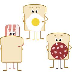 cartoon sandwich for breakfast bacon bread and vector image