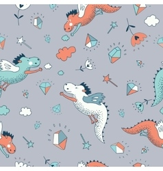 Cute funny seamless pattern hand drawn vector image vector image