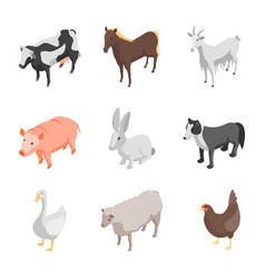 farm animals 3d icons set isometric view vector image