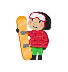little girl in winter clothes holding skateboard vector image vector image