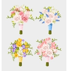 Set of wedding bouquets vector image vector image