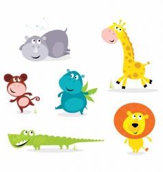 six cute safari animals vector image vector image