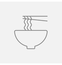 Bowl of noodles with pair chopsticks line icon vector image vector image