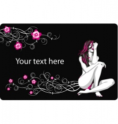 card with flowers and girl vector image