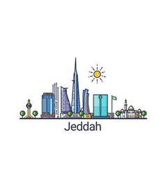 flat line jeddah banner vector image