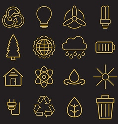 Set of universal modern thin line Ecology icons vector image