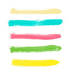 set of yellow green turquoise pink watercolor vector image