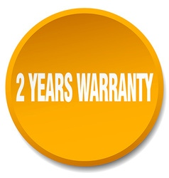 2 years warranty orange round flat isolated push vector image vector image