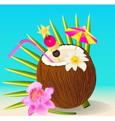 cocktail in the coconut and flower Orchid vector image