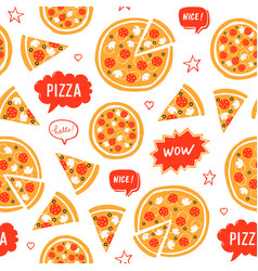 hand drawn pizza and speech bubbles with words vector image vector image
