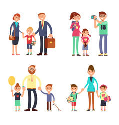 kids and parents in happy family mom dad and vector image