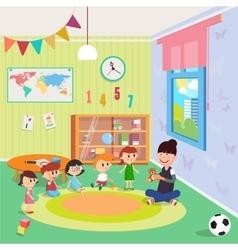 Kindergarden Interior Girls and Boys vector image