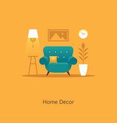 living room with armchair in flat sty vector image