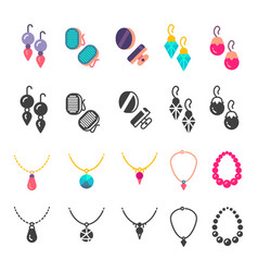 earrings eardrops and necklace icons vector image vector image