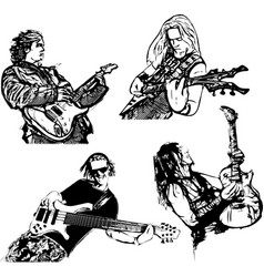 four guitar players vector image