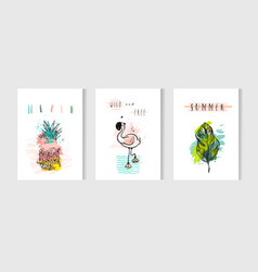 hand drawn abstract summer time cards set vector image vector image