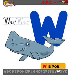 letter w with cartoon whale animal vector image