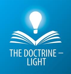 Logo lamp illuminates book vector