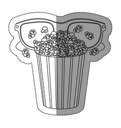 monochrome contour sticker with popcorn cup and vector image