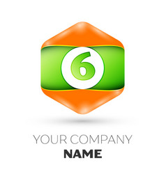 Number six logo in the colorful hexagonal vector