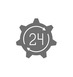 24 hours technical service support time grey icon vector