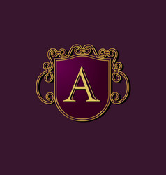a letter logo heraldry vector image