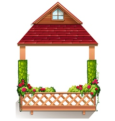 A porch with flowering plants vector