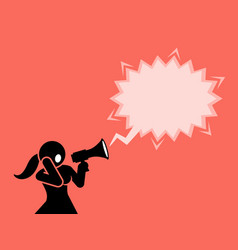 a woman shouting through a megaphone or vector image