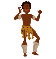 african tribe member man in animal skin and fur vector image