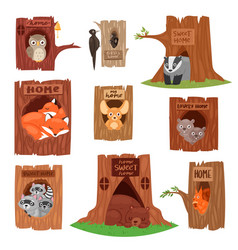 Animals in hollow animalistic character vector