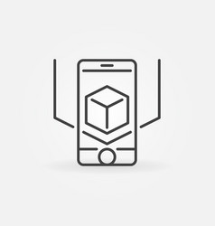 Ar smart-phone icon in thin line style vector