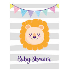 baby shower cute lion face pennants decoration vector image