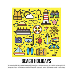 Beach holidays information banner vector