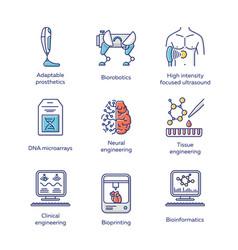 Bioengineering color icons set biotechnology vector