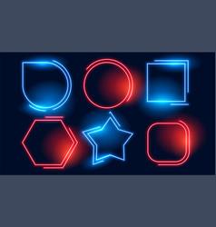 Blue red geometric neon empty frames set vector