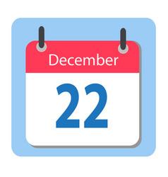 calendar icon flat december 22 22 december date vector image