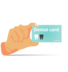 Card dentist in hand with shadow vector