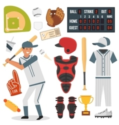 Cartoon baseball player icons batting vector image
