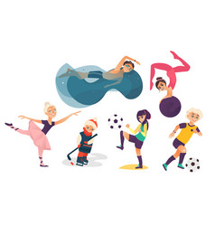 Cartoon kids doing sports set vector