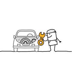 Cartoon mechanic man repairing car vector