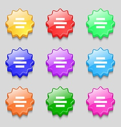 Center alignment icon sign symbol on nine wavy vector