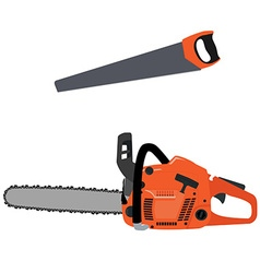 Chainsaw and hand saw vector