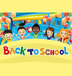 cheerful school children vector image