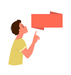 child boy pointing finger on banner blank poster vector image