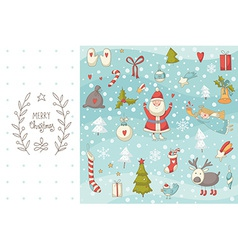 Christmas doodle set with Santa Claus vector