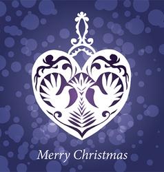 christmas toy handmade heart birds vector image